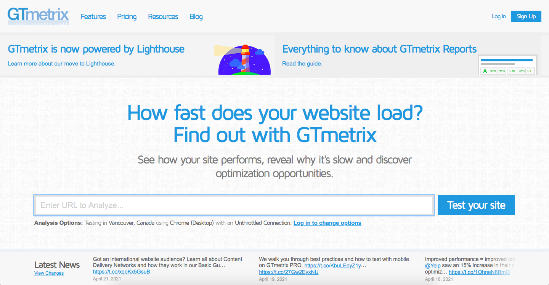 GTmetrix website